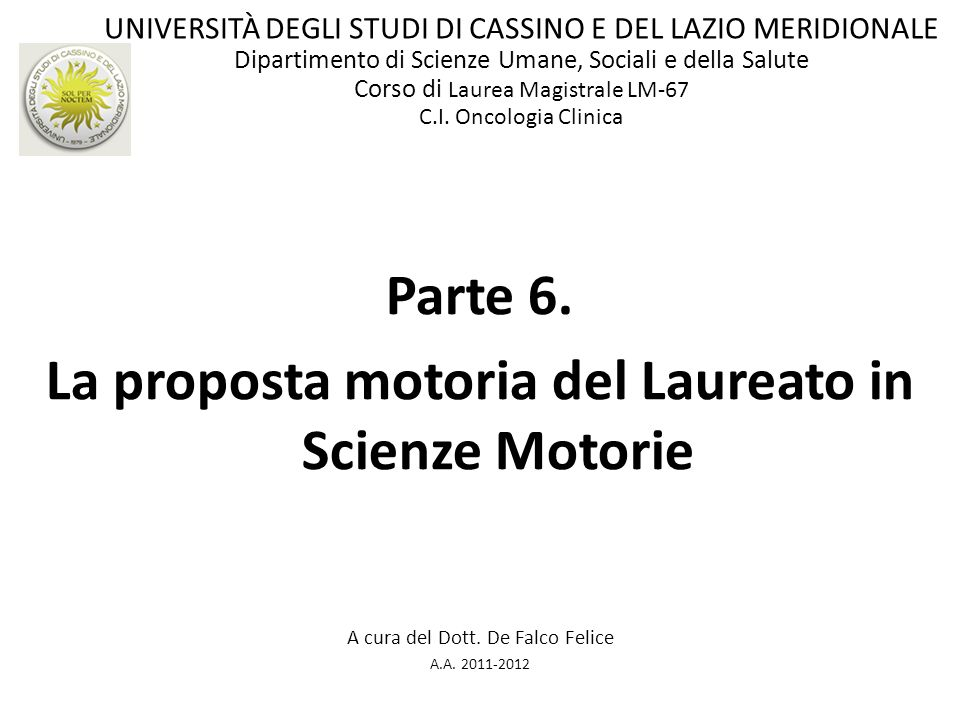 La proposta motoria del Laureato in Scienze Motorie