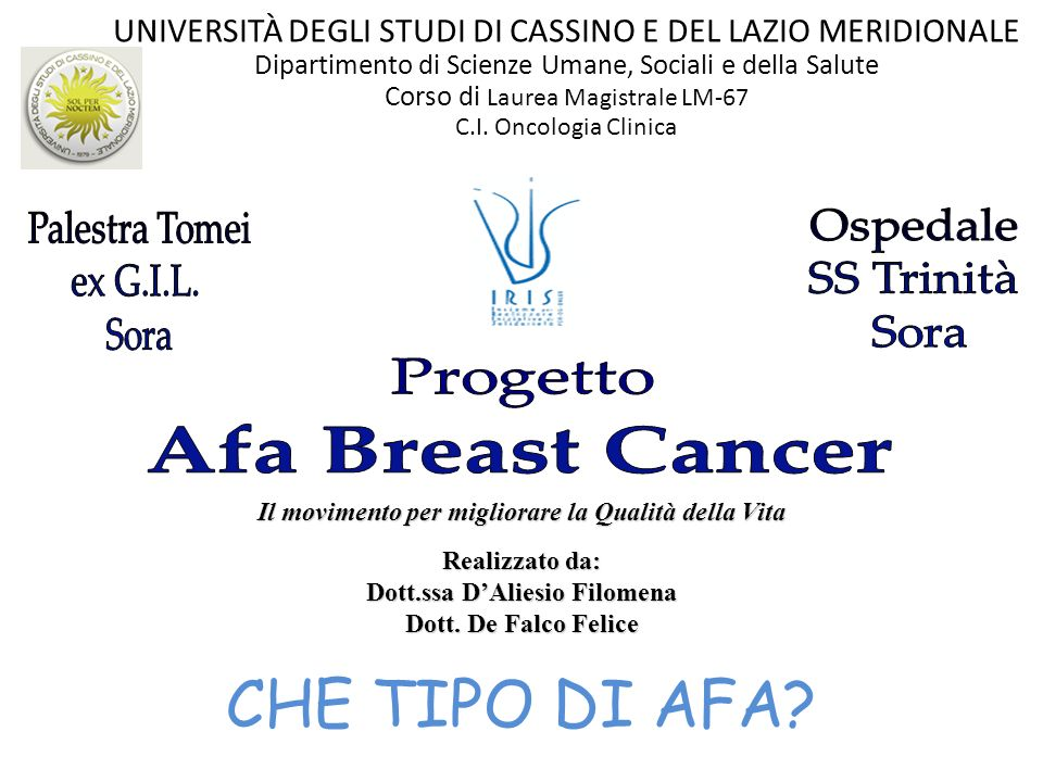 CHE TIPO DI AFA Palestra Tomei Ospedale ex G.I.L. SS Trinità Sora