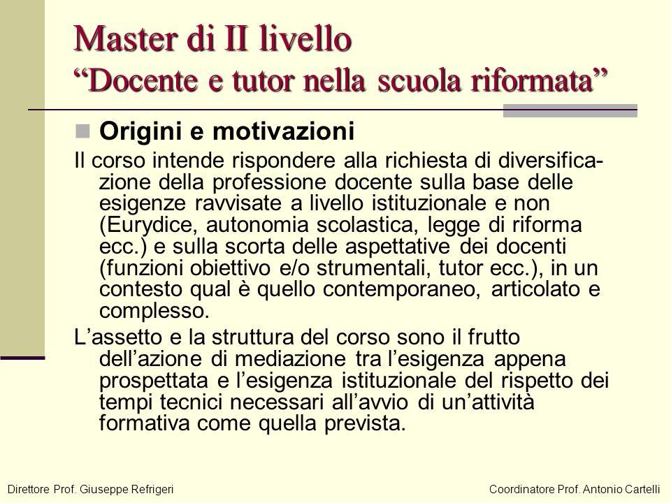 Master di II livello Docente e tutor nella scuola riformata