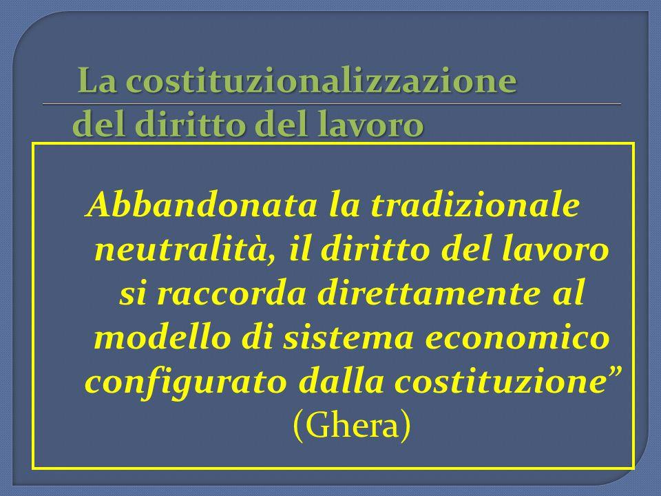 La costituzionalizzazione del diritto del lavoro