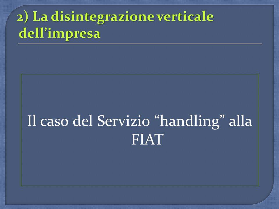 2) La disintegrazione verticale dell'impresa
