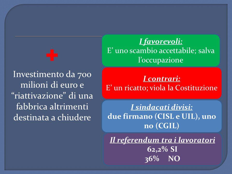 due firmano (CISL e UIL), uno no (CGIL) Il referendum tra i lavoratori