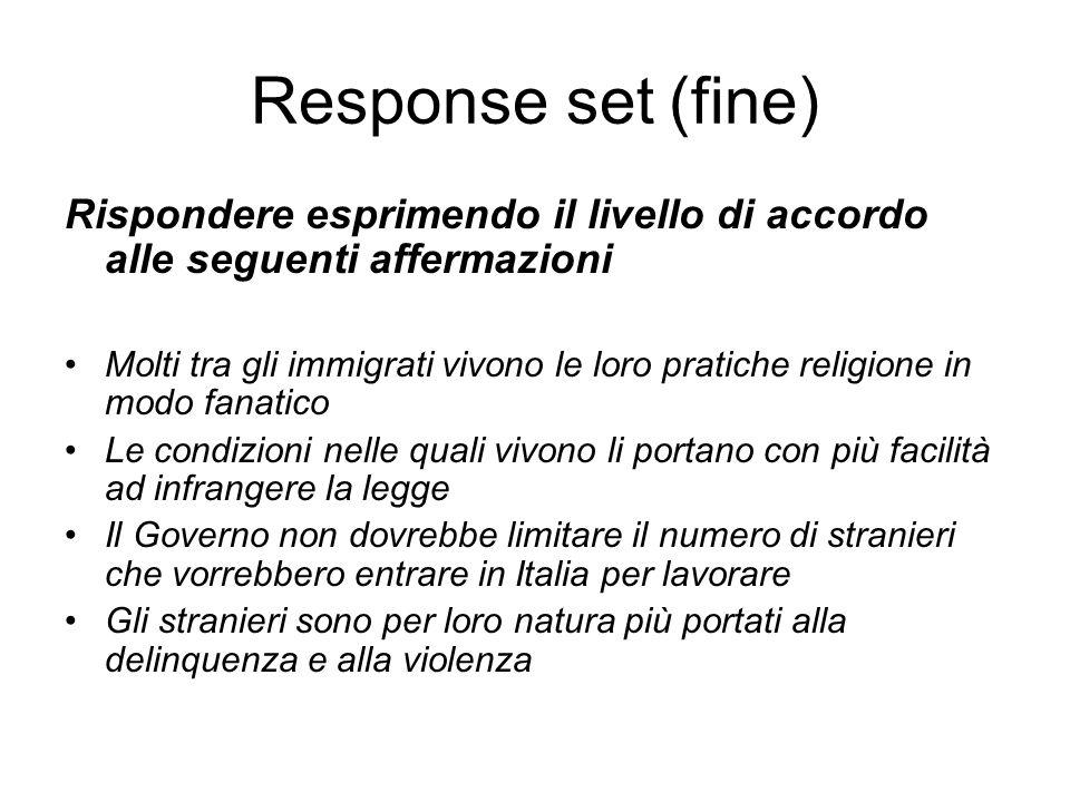 Response set (fine) Rispondere esprimendo il livello di accordo alle seguenti affermazioni.