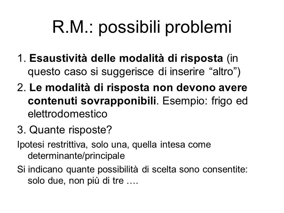 R.M.: possibili problemi