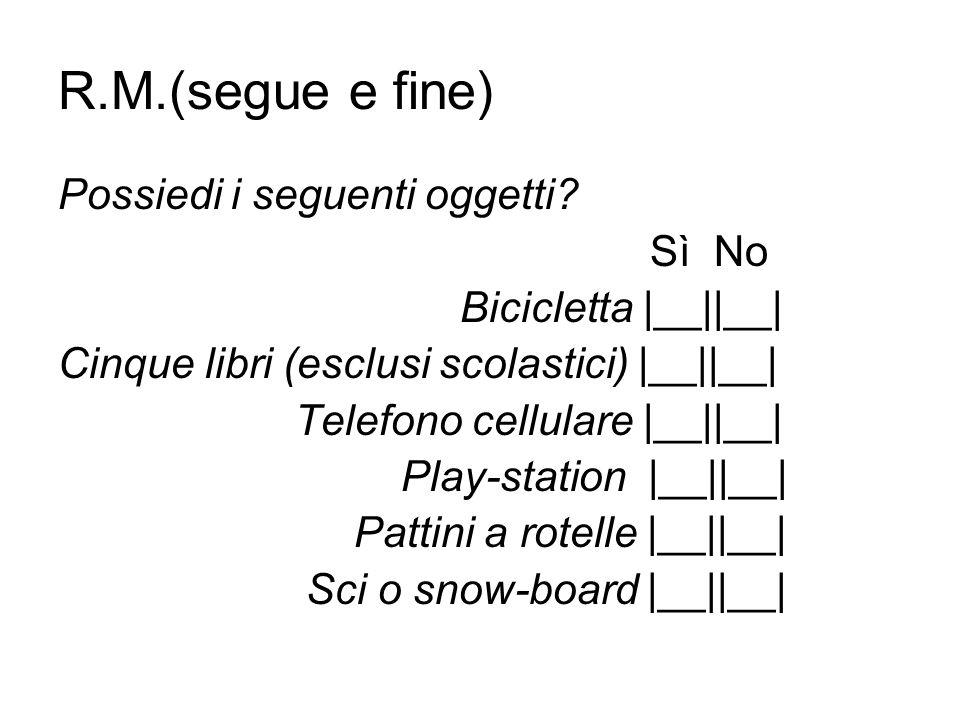 R.M.(segue e fine) Possiedi i seguenti oggetti Sì No