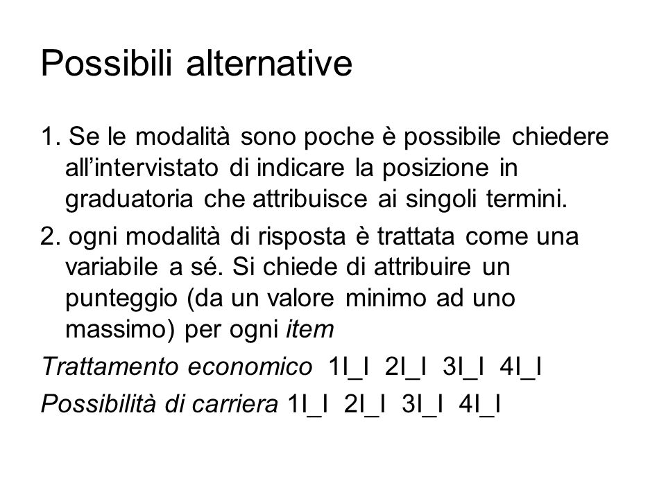 Possibili alternative