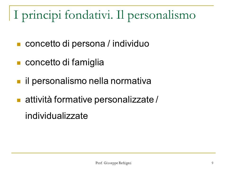 I principi fondativi. Il personalismo