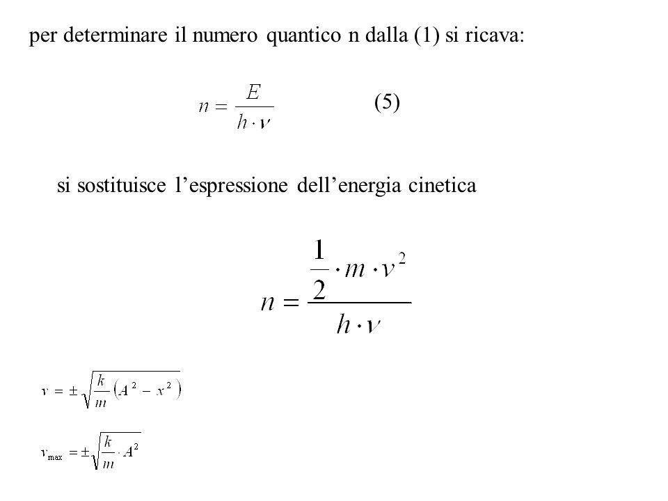 per determinare il numero quantico n dalla (1) si ricava: