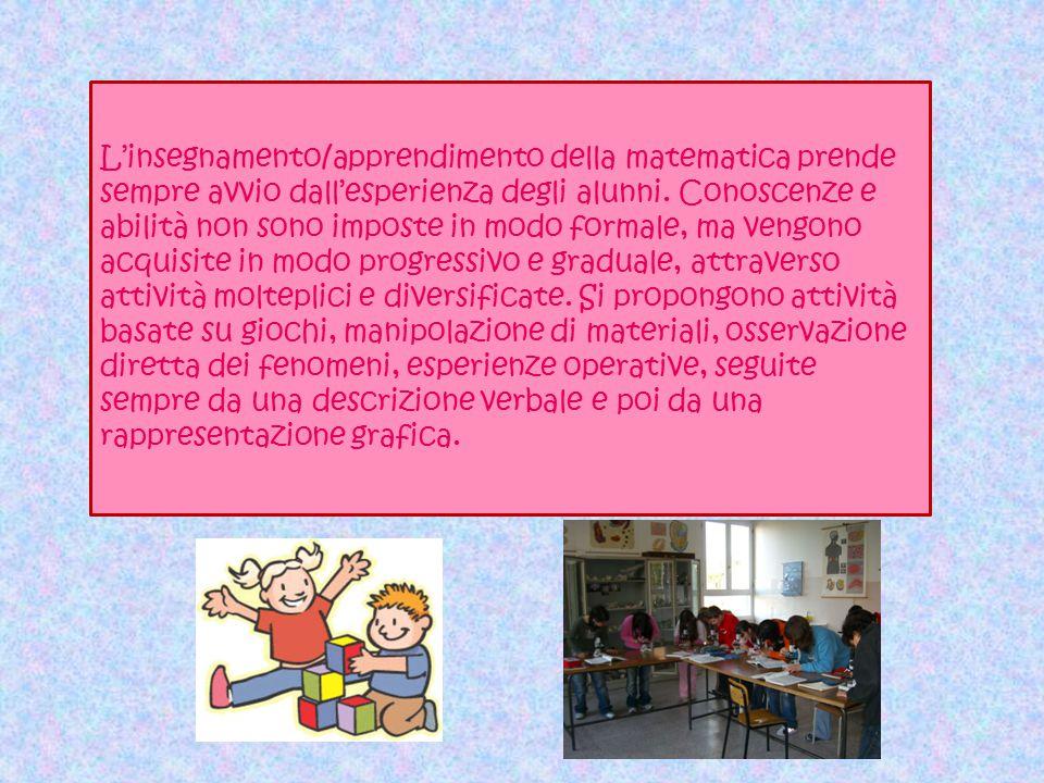 L'insegnamento/apprendimento della matematica prende sempre avvio dall'esperienza degli alunni.