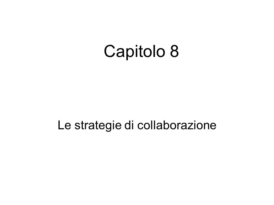 Le strategie di collaborazione