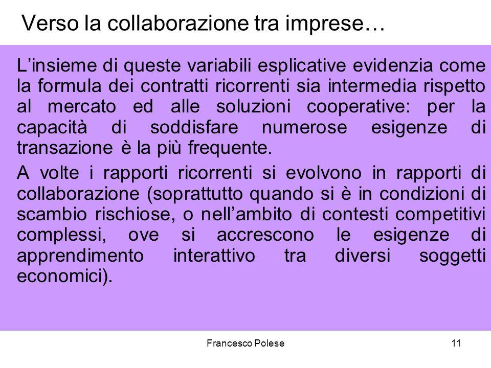 Verso la collaborazione tra imprese…