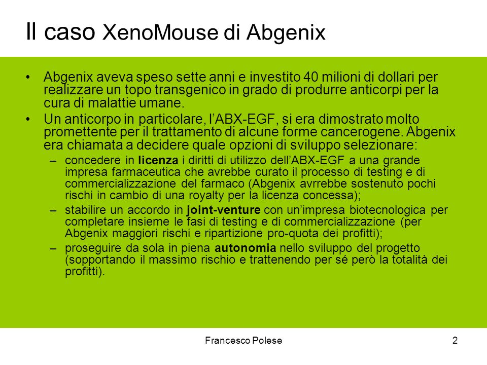 Il caso XenoMouse di Abgenix