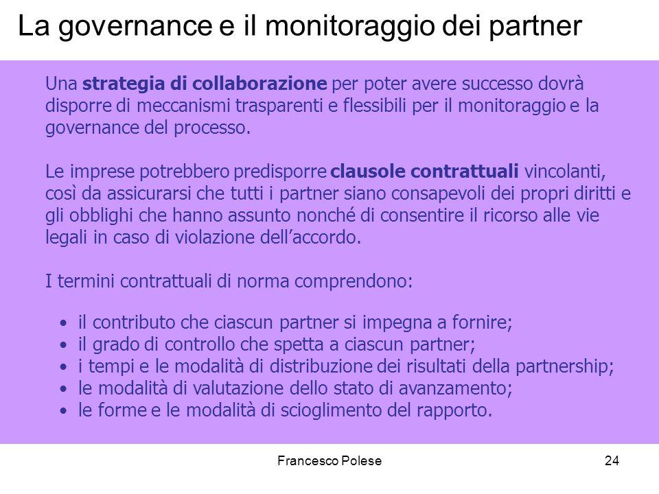 La governance e il monitoraggio dei partner