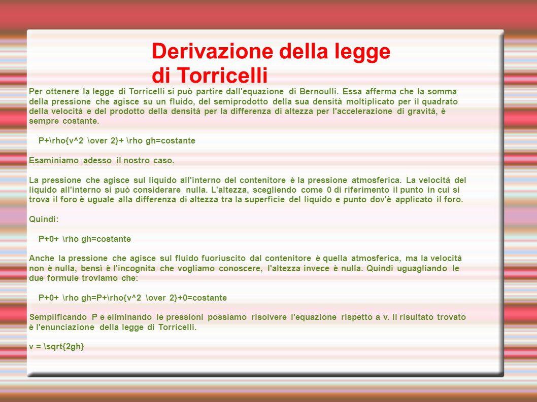 Derivazione della legge di Torricelli
