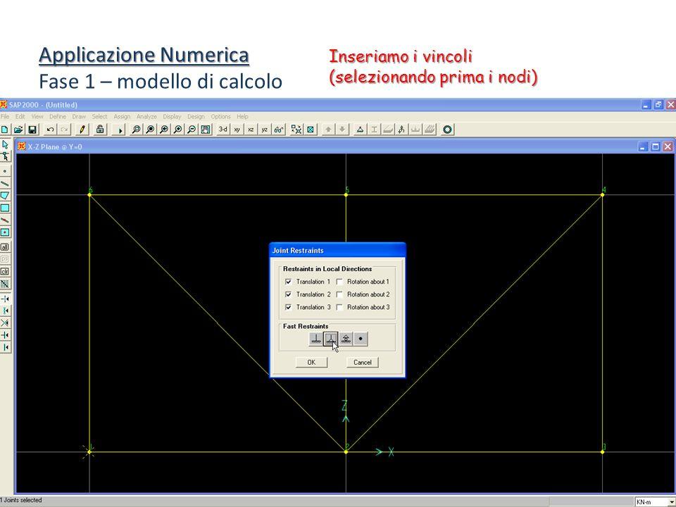 Applicazione Numerica Fase 1 – modello di calcolo