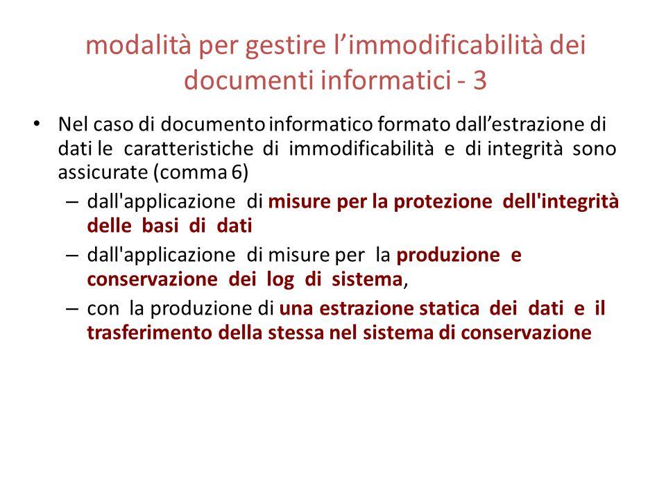 modalità per gestire l'immodificabilità dei documenti informatici - 3