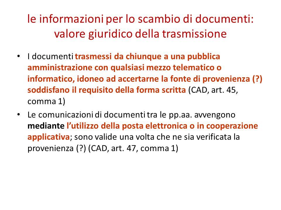 le informazioni per lo scambio di documenti: valore giuridico della trasmissione
