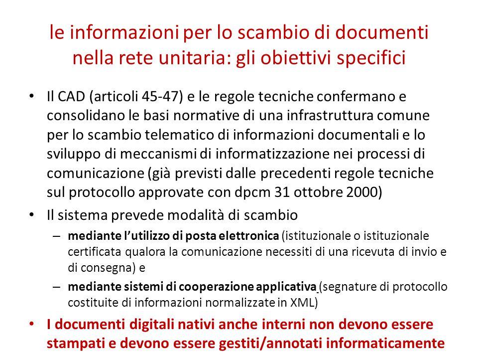 le informazioni per lo scambio di documenti nella rete unitaria: gli obiettivi specifici