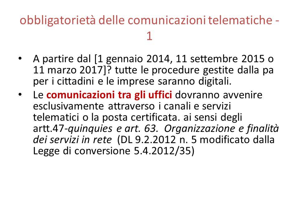 obbligatorietà delle comunicazioni telematiche - 1