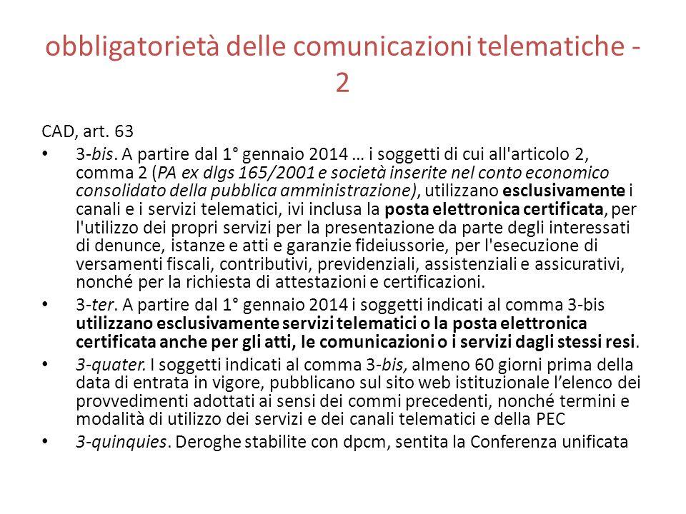 obbligatorietà delle comunicazioni telematiche - 2