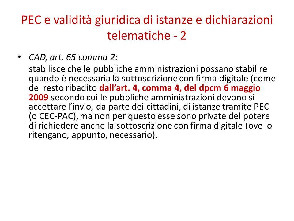 PEC e validità giuridica di istanze e dichiarazioni telematiche - 2