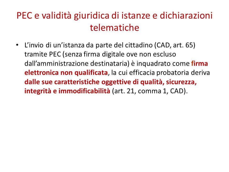 PEC e validità giuridica di istanze e dichiarazioni telematiche