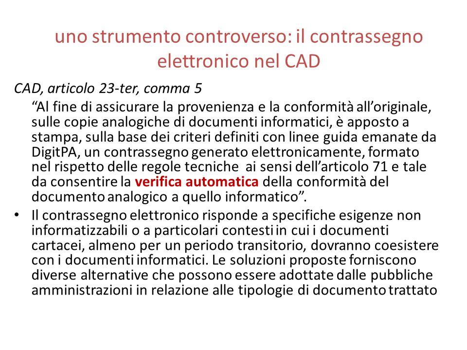 uno strumento controverso: il contrassegno elettronico nel CAD