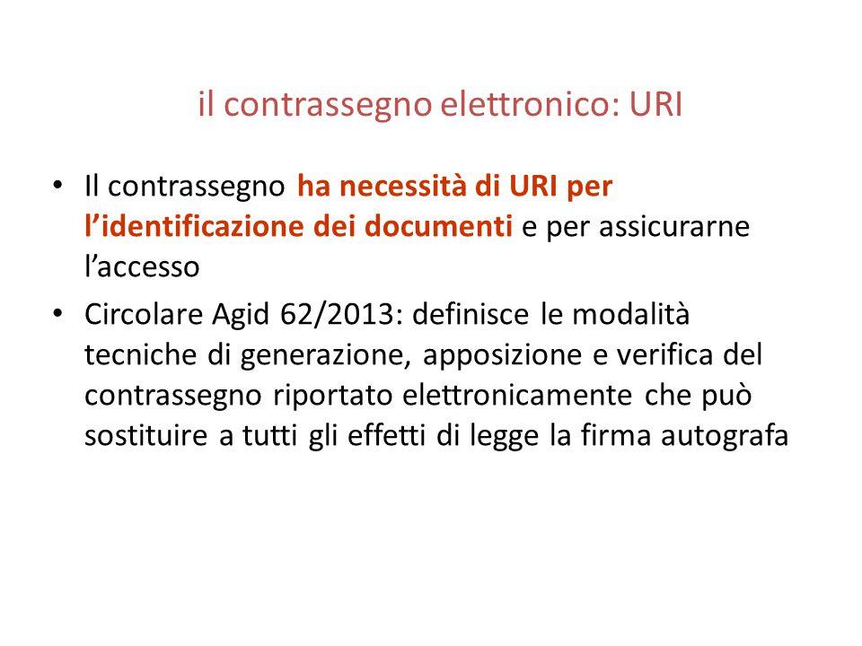 il contrassegno elettronico: URI