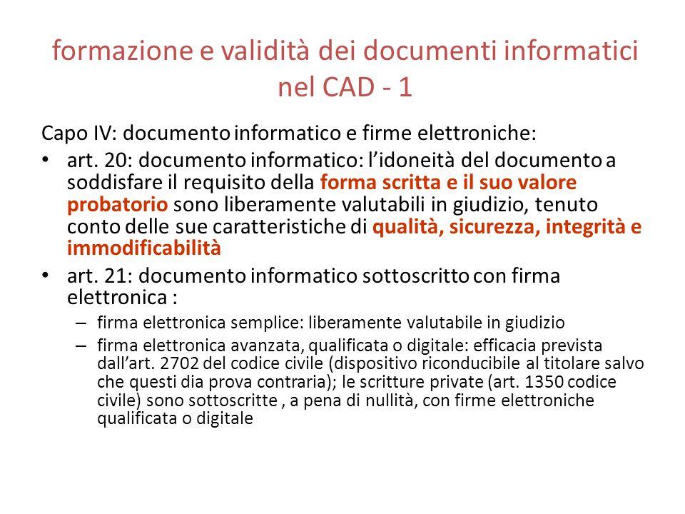 formazione e validità dei documenti informatici nel CAD - 1