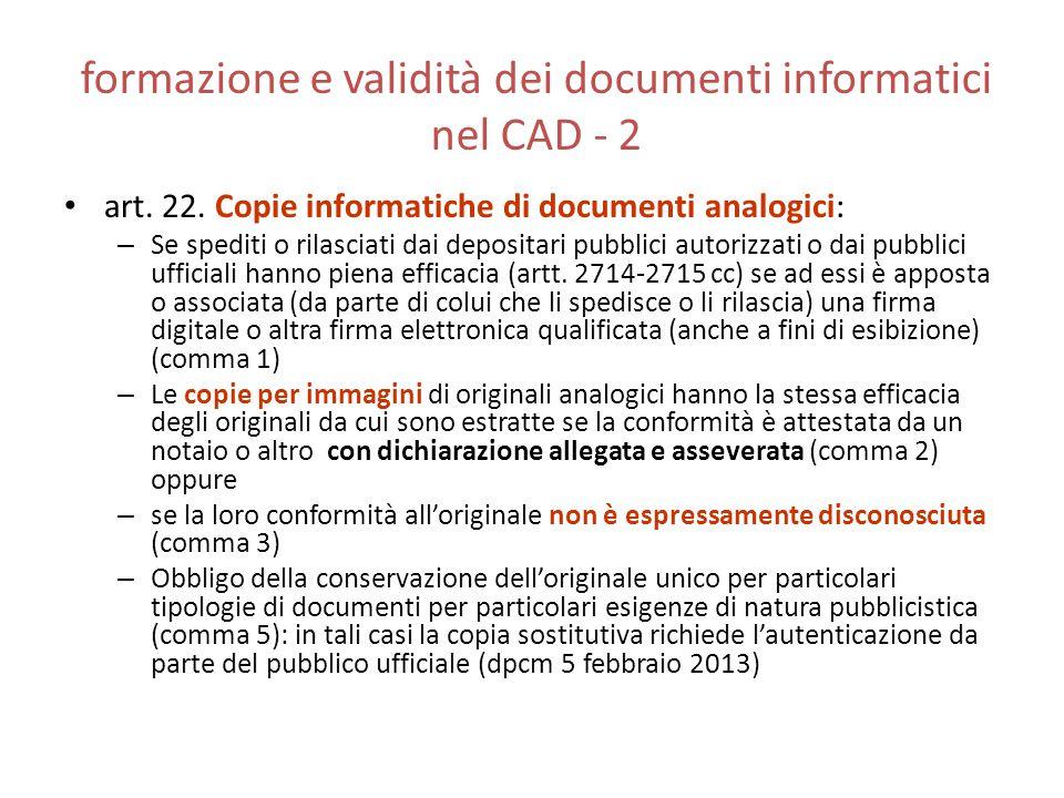 formazione e validità dei documenti informatici nel CAD - 2