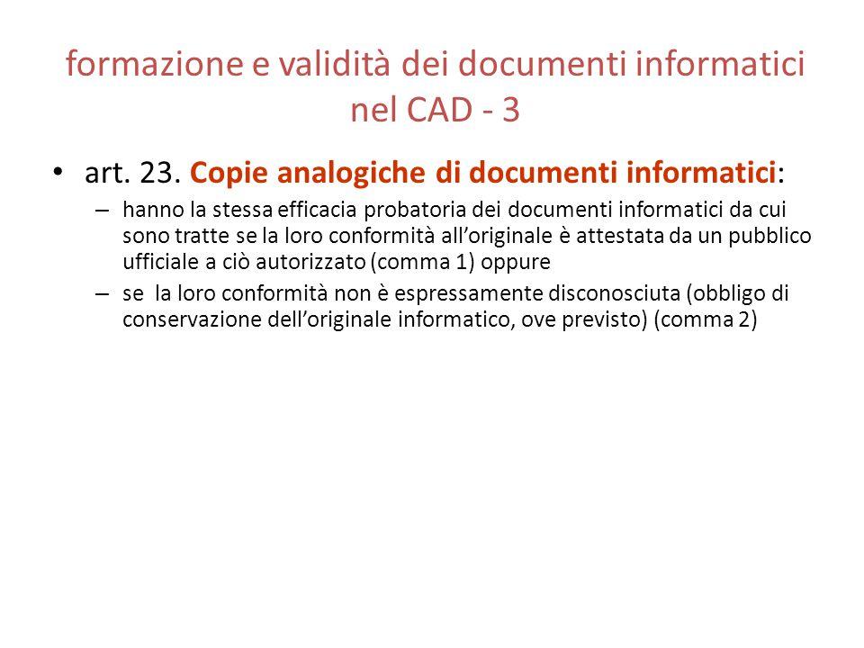 formazione e validità dei documenti informatici nel CAD - 3