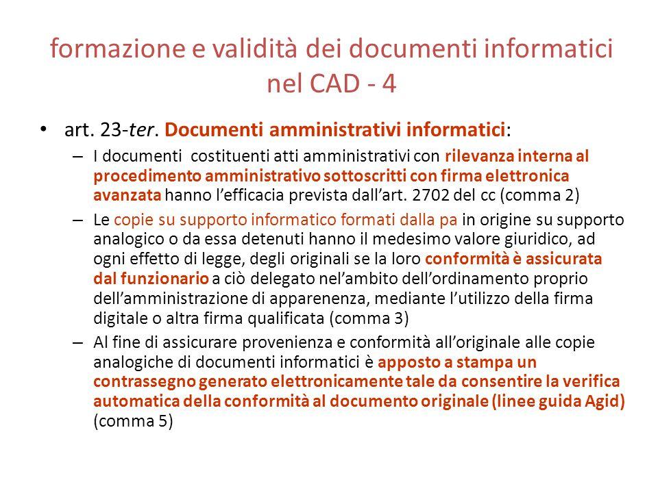 formazione e validità dei documenti informatici nel CAD - 4