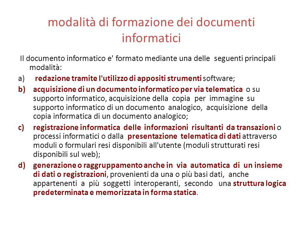 modalità di formazione dei documenti informatici