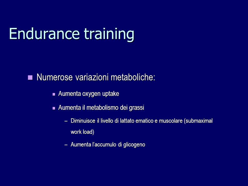Endurance training Numerose variazioni metaboliche: