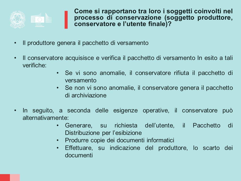 Come si rapportano tra loro i soggetti coinvolti nel processo di conservazione (soggetto produttore, conservatore e l'utente finale)