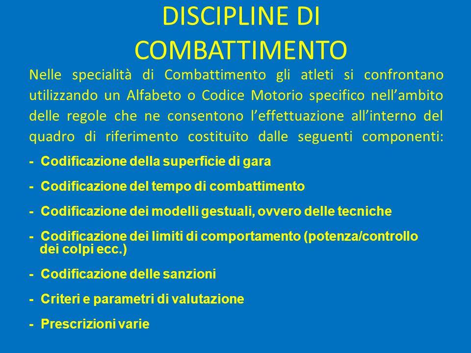 Nelle specialità di Combattimento gli atleti si confrontano utilizzando un Alfabeto o Codice Motorio specifico nell'ambito delle regole che ne consentono l'effettuazione all'interno del quadro di riferimento costituito dalle seguenti componenti: