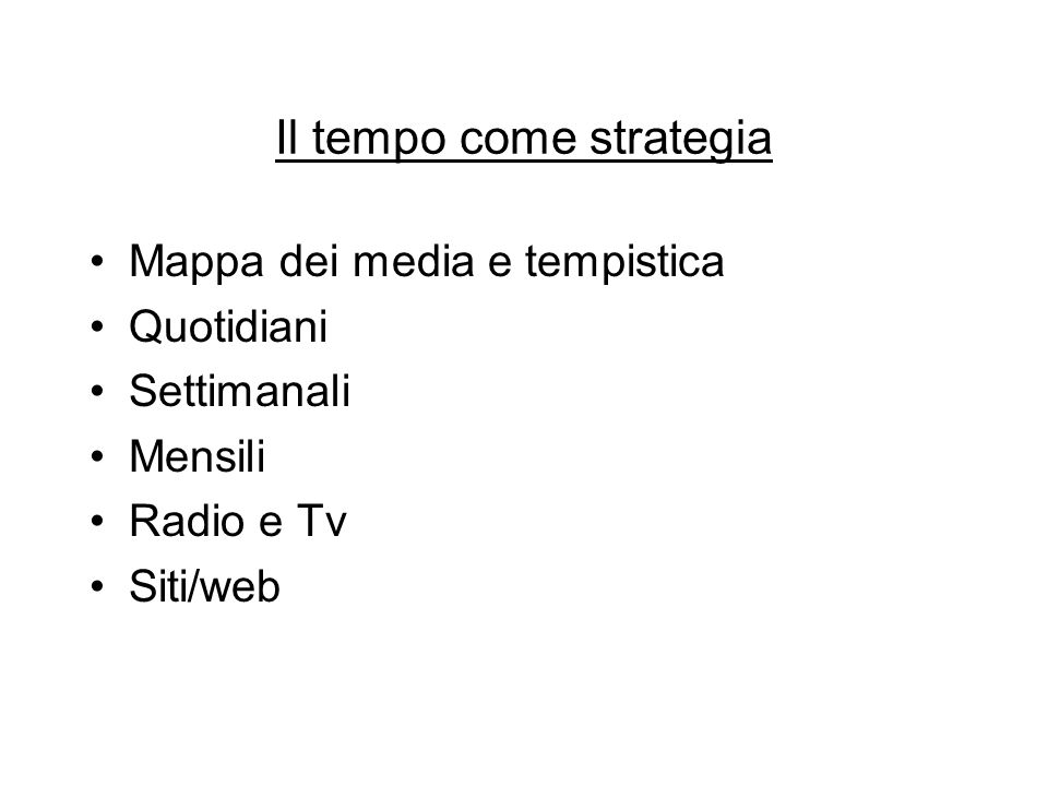 Il tempo come strategia