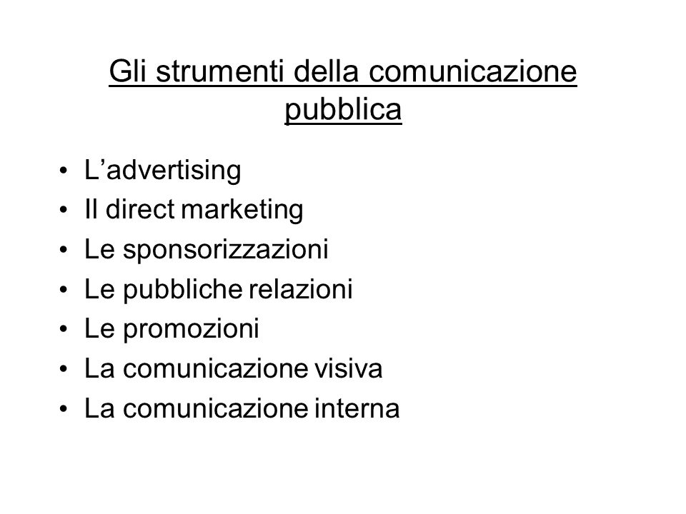 Gli strumenti della comunicazione pubblica