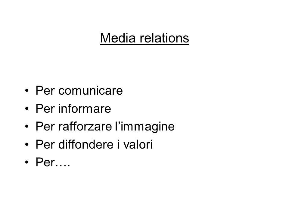 Media relations Per comunicare Per informare Per rafforzare l'immagine