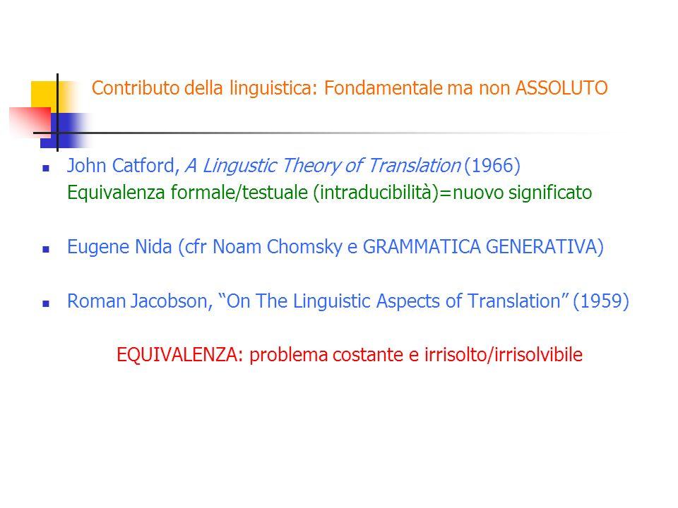 Contributo della linguistica: Fondamentale ma non ASSOLUTO