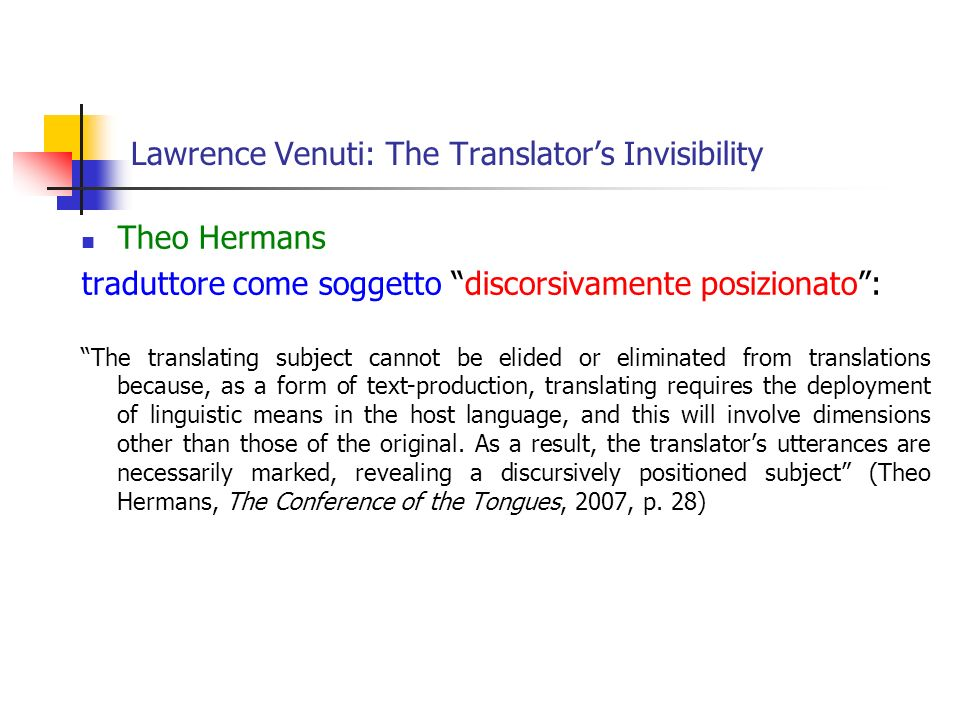 Lawrence Venuti: The Translator's Invisibility