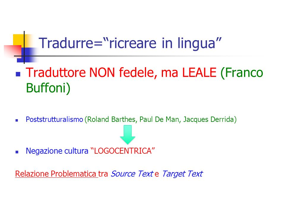 Tradurre= ricreare in lingua