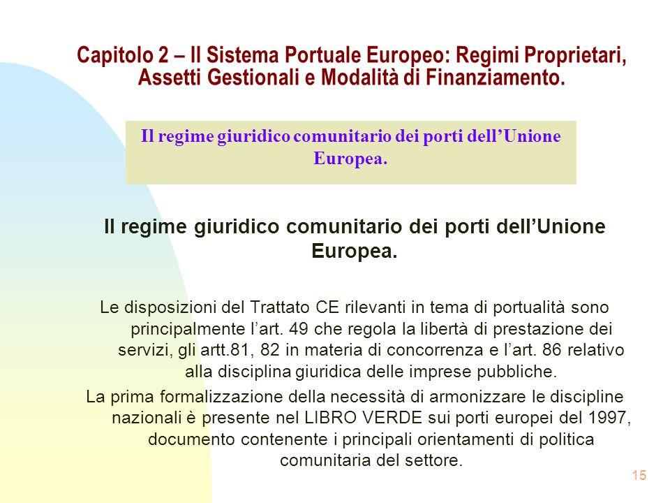 Capitolo 2 – Il Sistema Portuale Europeo: Regimi Proprietari, Assetti Gestionali e Modalità di Finanziamento.
