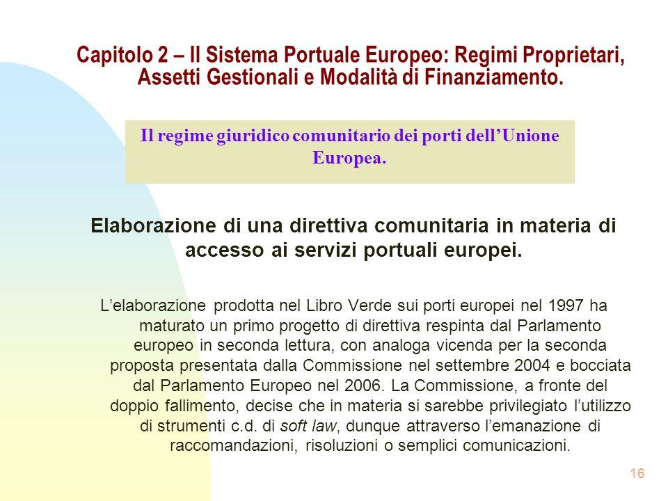Il regime giuridico comunitario dei porti dell'Unione Europea.