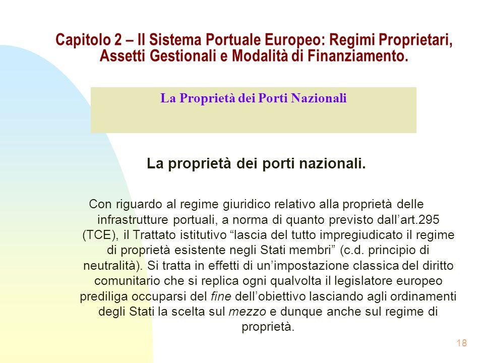La Proprietà dei Porti Nazionali La proprietà dei porti nazionali.