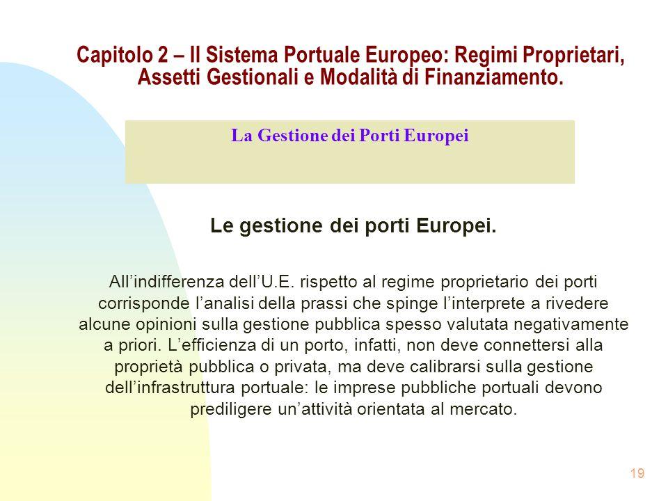 La Gestione dei Porti Europei Le gestione dei porti Europei.