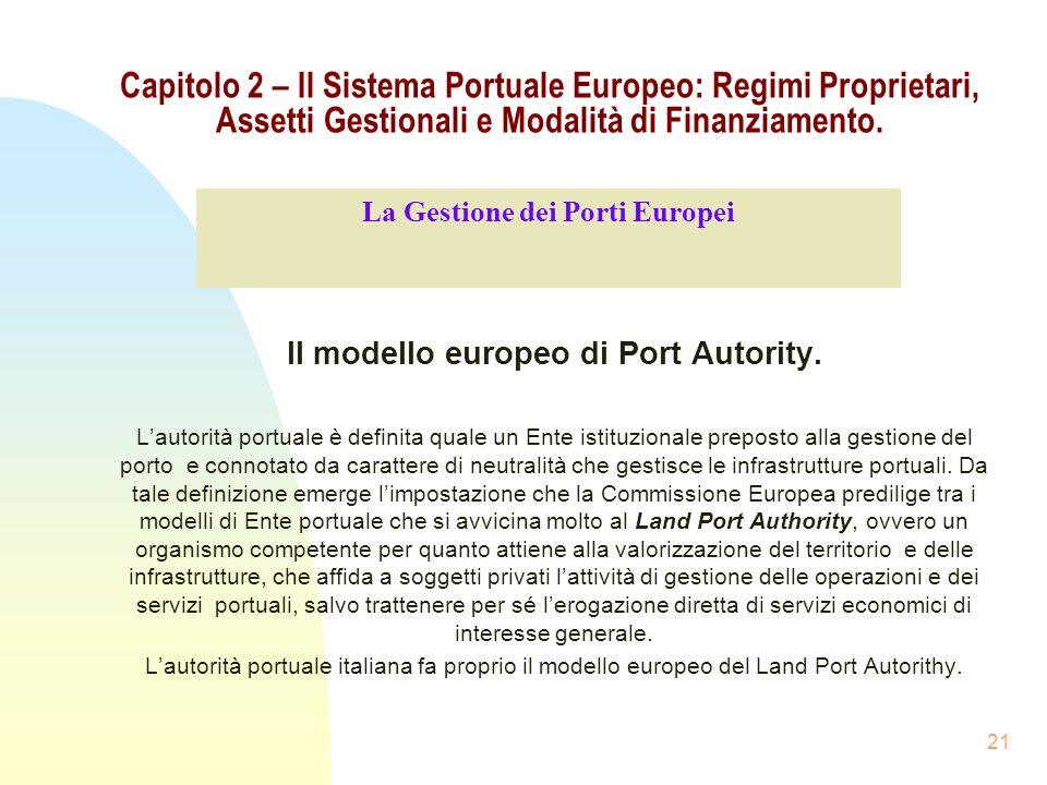 La Gestione dei Porti Europei Il modello europeo di Port Autority.