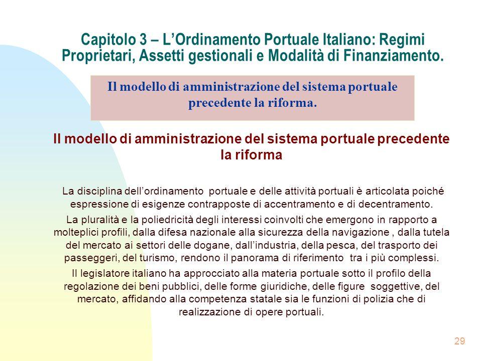 Capitolo 3 – L'Ordinamento Portuale Italiano: Regimi Proprietari, Assetti gestionali e Modalità di Finanziamento.