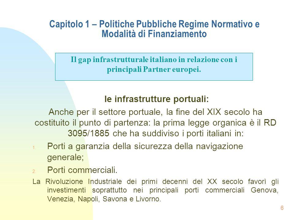 le infrastrutture portuali: