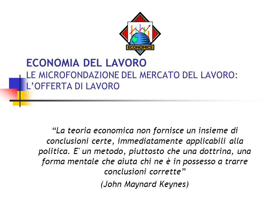ECONOMIA DEL LAVORO LE MICROFONDAZIONE DEL MERCATO DEL LAVORO: L'OFFERTA DI LAVORO